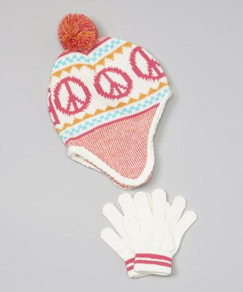 White Peace Sign Earflap Beanie & Gloves