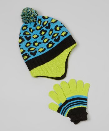 Blue & Neon Green Leopard Earflap Beanie & Gloves