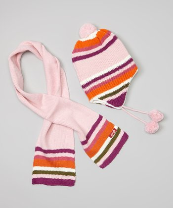 Orange Stripe Earflap Beanie & Scarf