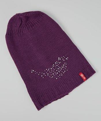 Purple Rhinestone Long Beanie