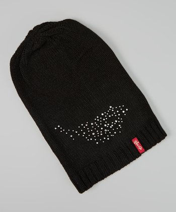 Black Rhinestone Long Beanie