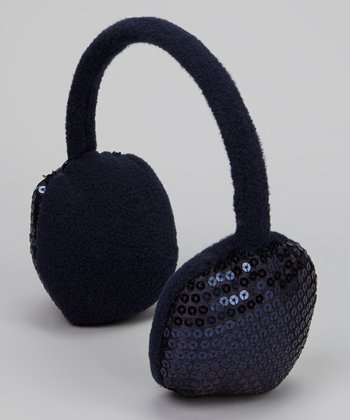 Navy Blue Sequin Earmuffs
