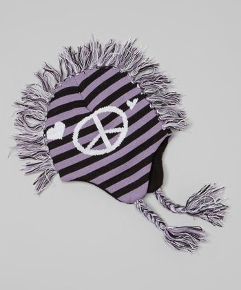 Lilac Peace Sign Mohawk Beanie
