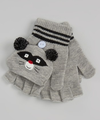 Gray Raccoon Convertible Mittens