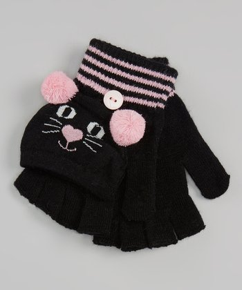 Black Cat Convertible Mittens