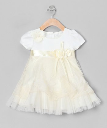 Ivory Floral Sheer Dress - Toddler & Girls