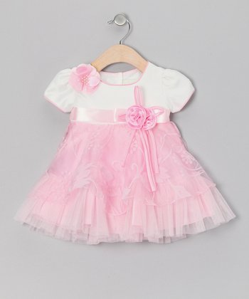Pink Floral Sheer Dress - Toddler & Girls