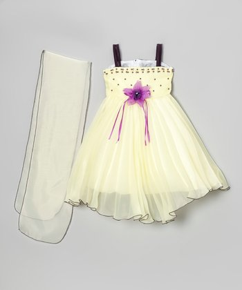 Cream & Lilac Beaded Rosette Dress & Shawl - Infant & Toddler