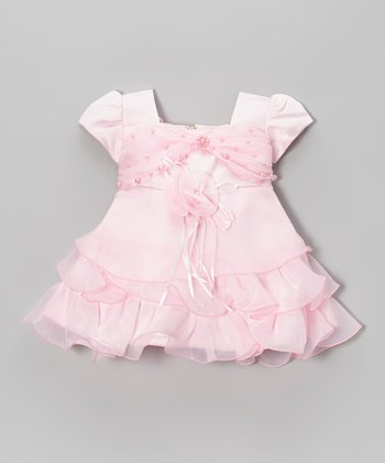Pink Pearl Tiered Ruffle Dress - Girls
