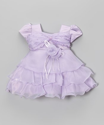 Lilac Pearl Tiered Ruffle Dress - Infant & Girls