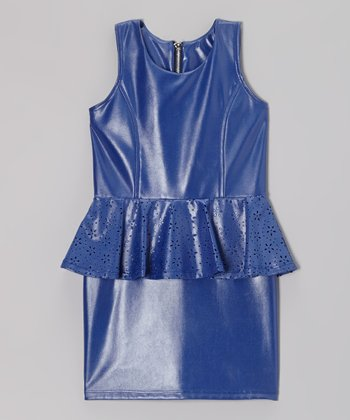 Royal Blue Faux Leather Peplum Dress
