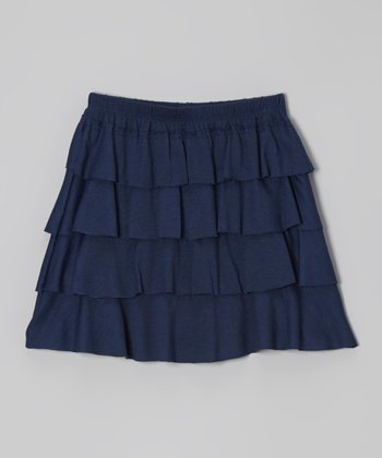 Navy Tiered Skirt