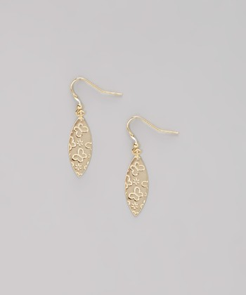 Gold Butterfly Teardrop Earrings
