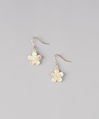 Gold Butterfly Flower Earrings