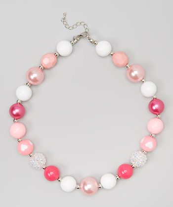 Pink & White Heart Chunky Necklace