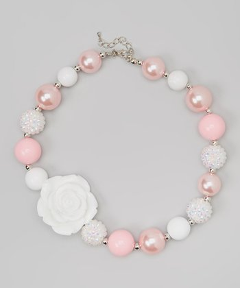 Pink & White Rose Chunky Necklace