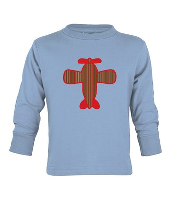 Light Blue Plane Long-Sleeve Bodysuit - Toddler & Boys