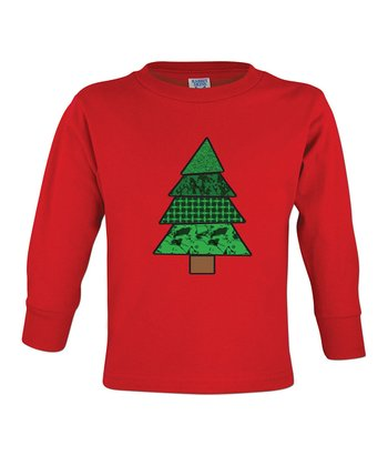 Red Christmas Tree Long-Sleeve Tee - Toddler & Boys