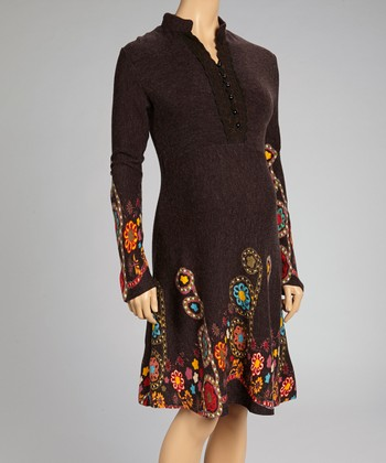 Brown Embroidered Maternity A-Line Dress