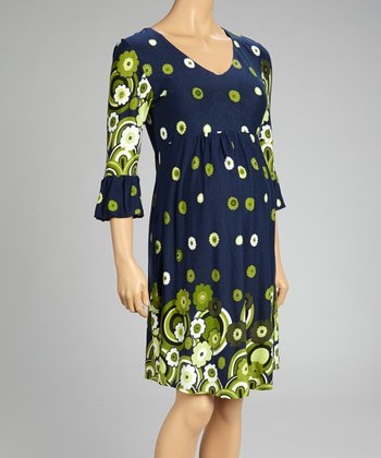 Navy & Green Paisley Maternity Empire-Waist Dress