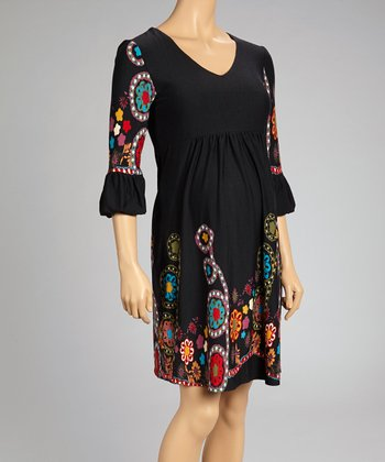 Black Embroidered Maternity Empire-Waist Dress