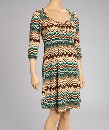 Green Zigzag Maternity Scoop Neck Dress