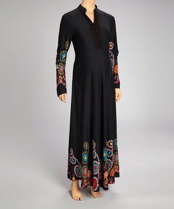 Black Embroidered Maternity Long-Sleeve Maxi Dress