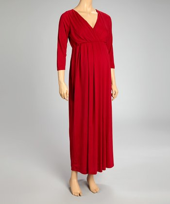 Red Maternity Maxi Dress