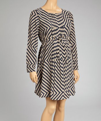 Navy Zigzag Maternity Empire-Waist Dress