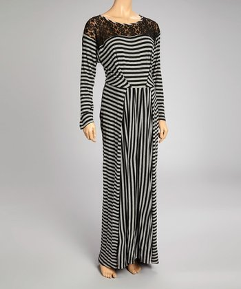 Gray Stripe Maternity Maxi Dress