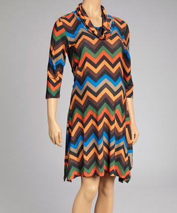 Brown & Blue Zigzag Maternity Cowl Neck Sidetail Dress