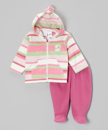 Pink & Mint Stripe Zip-Up Hoodie & Footie Pants - Infant