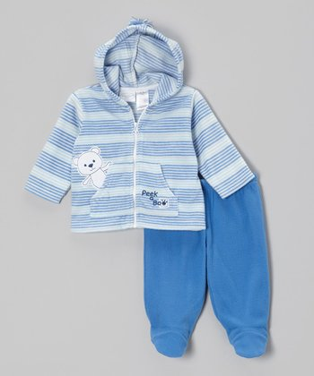 Blue Teddy Bear Zip-Up Hoodie & Footie Pants - Infant