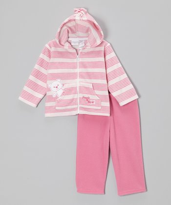 Pink Stripe Teddy Bear Zip-Up Hoodie & Pants - Infant