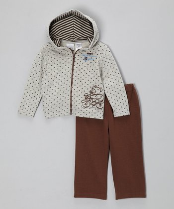 Brown Polka Dot Zip-Up Hoodie & Pants - Infant