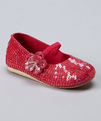 Hot Pink Sequin Tiny-Blossom Flat