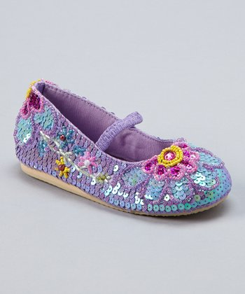 Light Purple Sequin Flower Blooming Flat