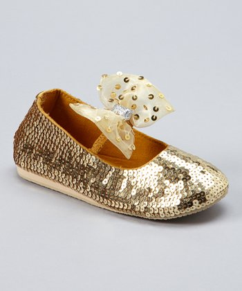 Gold Sequin Diamond Studded Bow Flat