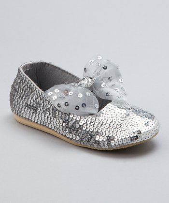 Silver Sequin Jewel Bow Flat