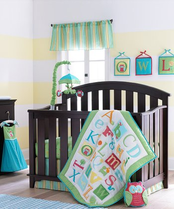 Sage Owlphabet Crib Bedding Set