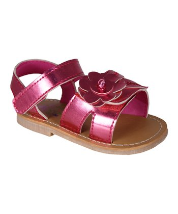 Fuchsia Metallic Flower Sandal