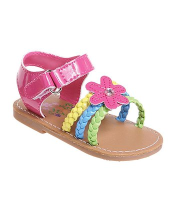 Fuchsia Metallic Flower Braid Sandal