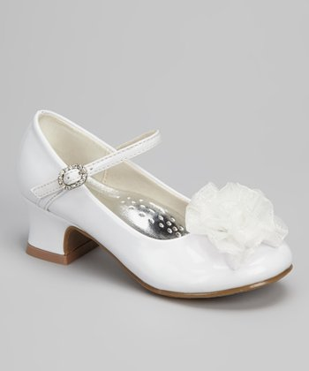 White Patent Blossom Mary Jane
