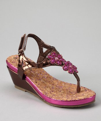 Bronze & Fuchsia Patent Flower T-Strap Wedge