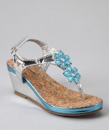 Silver & Blue Patent Flower T-Strap Wedge