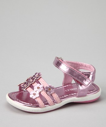 Pink Metallic Three-Strap Sandal