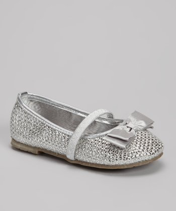 Silver Leather Bow Flat