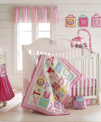 Pink Owlphabet Crib Bedding Set