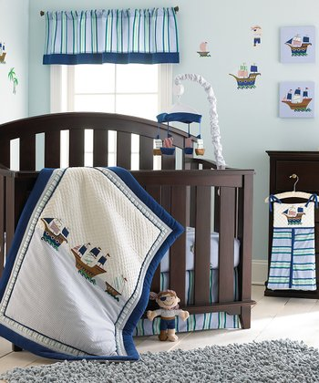 Blue Pirate Crib Bedding Set