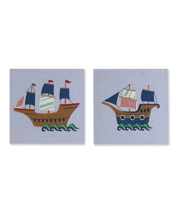 Blue Pirate Wall Art Set